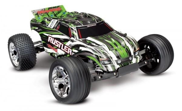 TRAXXAS Rustler grün RTR +12V-Lader+Akku 1/10 2WD Monster Truck Brushed