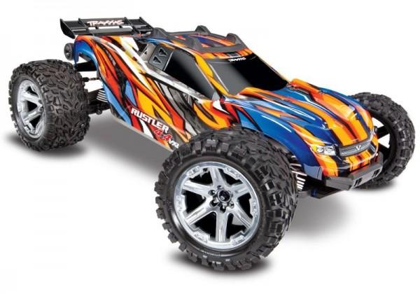 TRAXXAS Rustler 4x4 VXL orange RTR ohne Akku/Lader 1/10 4WD Stadium Truck Brushless