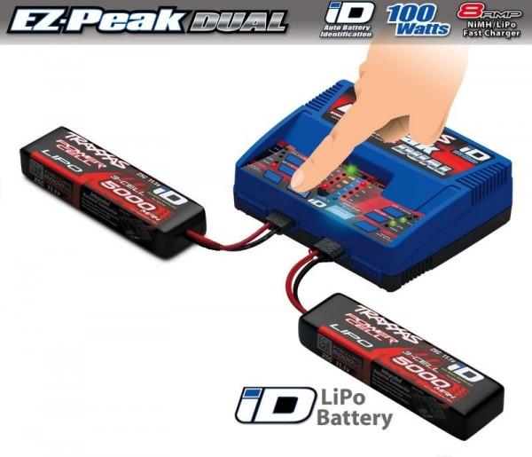 DUAL EZ-Peak Plus-Lader 2972GX + 2x 3S Lipo 5000mAh 2872X TRAXXAS EU-Version / X-Maxx Ergänzungs-Pak