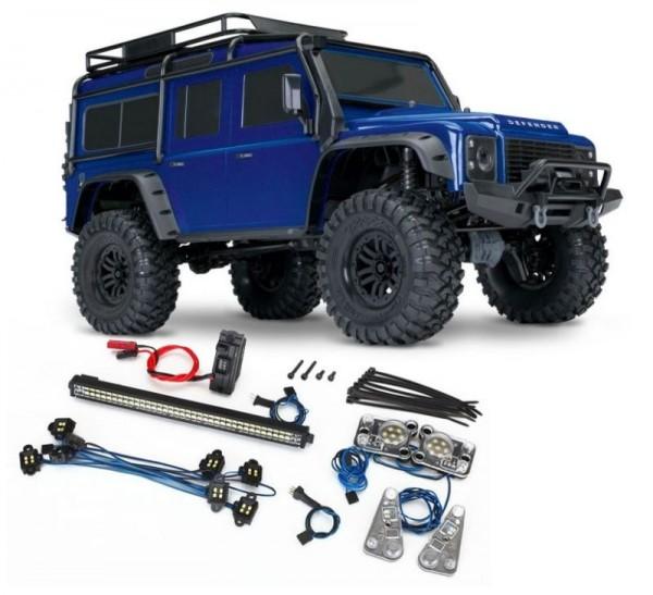 NEU TRAXXAS TRX-4 LR Defender 4x4 metallicblau RTR mit Licht-SET 1/10 4WD Scale-Crawler Brushed (TRX