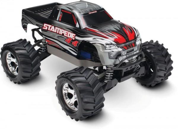 TRAXXAS Stampede 4x4 silber RTR +12V-Lader+Akku 1/10 4WD Monster Truck Brushed
