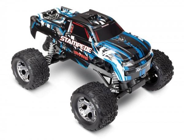 TRAXXAS Stampede blau-X RTR +12V-Lader+Akku 1/10 2WD Monster Truck Brushed