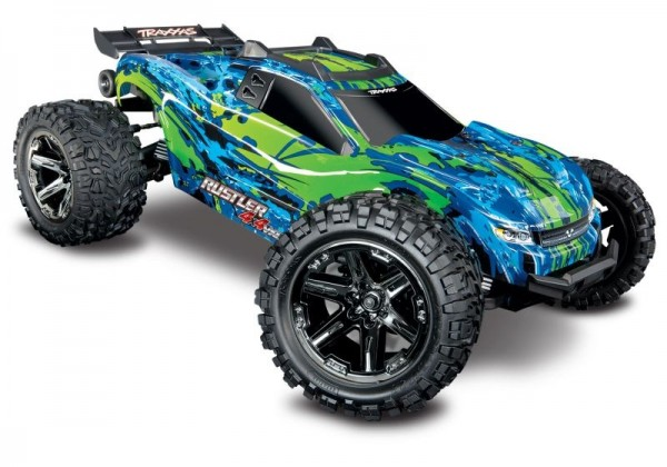 NEU TRAXXAS Rustler 4x4 VXL grün/blau RTR ohne Akku/Lader 1/10 4WD Stadium Truck Brushless