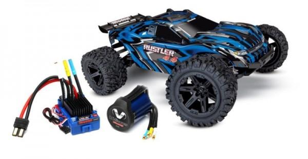 TRAXXAS Rustler 4x4 blau RTR +12V-Lader+Akku +BL-Upgrade 1/10 4WD Stadium Truck Brushed + 1x TRX3350