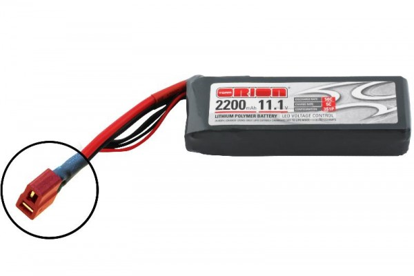 Team Orion LiPo 2200 3S 11,1V 50C Deans mit LED Spannungsmessung