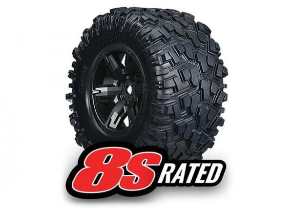 Tires & wheels, assembled, glued (left & right) (2) TRAXXAS (X-Maxx black wheels, Maxx AT tires, foa
