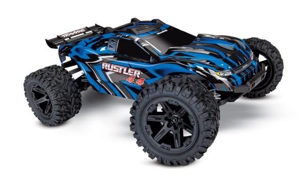 TRAXXAS Rustler 4x4 blau RTR +12V-Lader+Akku 1/10 4WD Stadium Truck Brushed